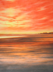 Printed Muslin Scenic Vivid Orange Beach Sunset Sky Backdrop - 109-17