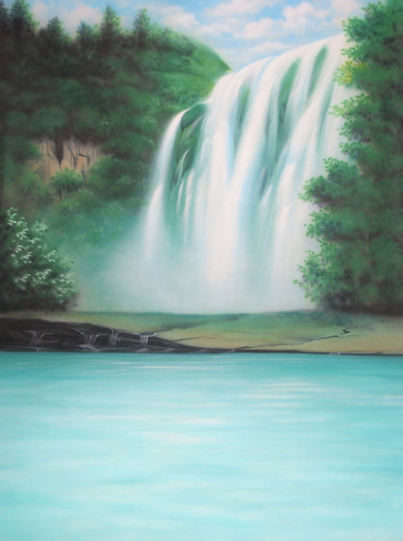 Printed Muslin Scenic Waterfall Forest Tropical Lake Backdrop - 109-25