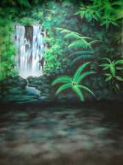 Printed Muslin Tropical Vivid Green Forest Jungle Waterfall Backdrop - 109-2