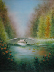 Printed Muslin Scenic Autumn Lake Bridge Pond Backdrop - 109-6