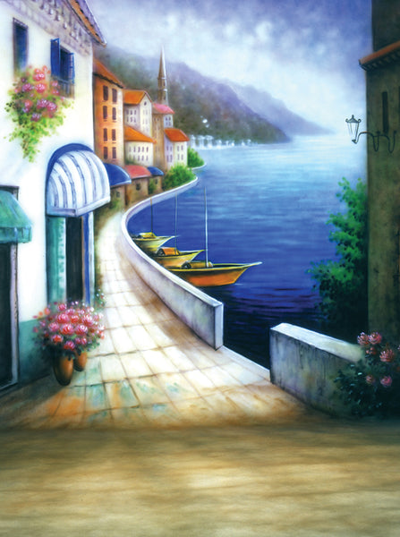 Printed Muslin Scenic Village Ocean View Backdrop - 109-9
