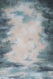 Printed Muslin Abstract Tie Dye Teal and Beige Contrast Backdrop - 111-1