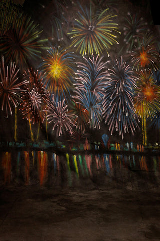 Printed Muslin Scenic Colorful Firework Nightsky Backdrop - 111-5