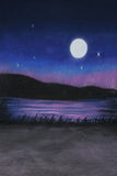 Printed Muslin Scenic Full Moon Blue Purple Nightsky Lake Backdrop - 112-15