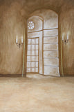 Printed Muslin Scenic Candle Lit Hallway Door Entrance Backdrop - 112-22