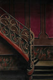 Printed Muslin Scenic Brown and Burgandy Staircase Backdrop - 113-12
