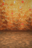 Printed Muslin Floral Elegant Orange Swirls Backdrop - 113-1