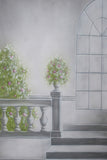 Printed Muslin Scenic Gray Window Wall and Stairs Backdrop - 113-2