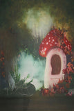 Printed Muslin Forest Charming Mushroom Fog Backdrop - 114-1