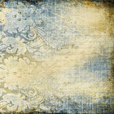 1273 Printed Blue and Cream Floral Backdrop - Backdrop Outlet