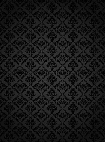1333 Damask Pattern Black Printed Backdrop - Backdrop Outlet