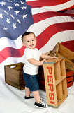 1369 Wavey Patriotic Flag Background - Backdrop Outlet - 1