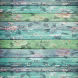 2228 Green Teal Floral Wood Backdrop - Backdrop Outlet