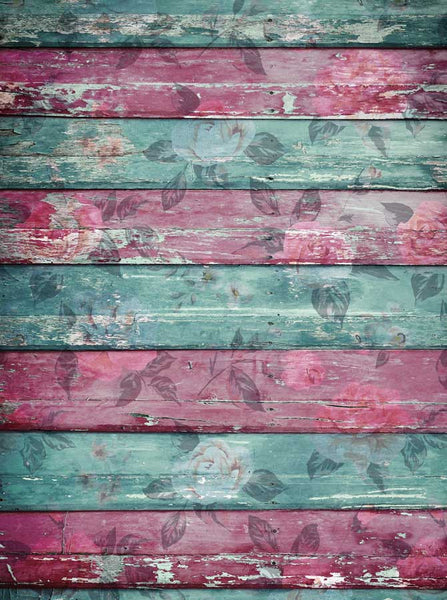 Teal Pink Floral Wood Backdrop - 2229 - Backdrop Outlet