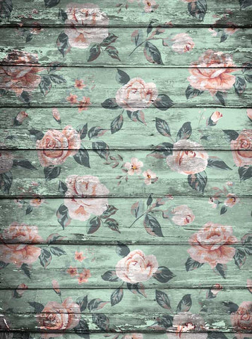 2237 Green Flowers Wood Backdrop - Backdrop Outlet
