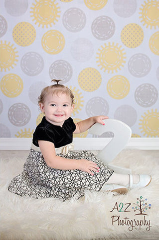 2315 Printed Yellow and Grey Pattern Dots Backdrop - Backdrop Outlet - 4