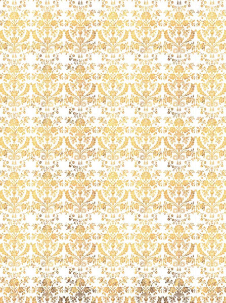 Victorian Pattern Yellow Printed Photo Backdrop - 4637 - Backdrop Outlet