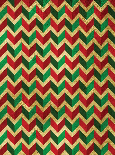 Green Red Chevron Pattern Printed Background With 3D Look - 4649 - Backdrop Outlet
