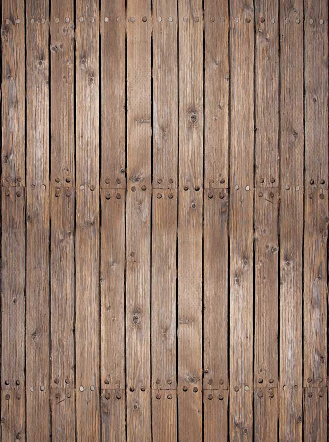 Rustic Brown Wood Floor Nails Backdrop Outlet