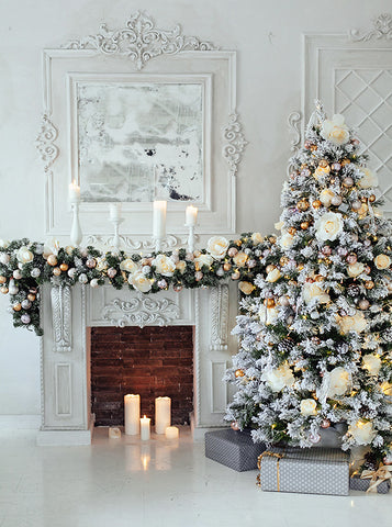 Elegant White Christmas Tree Decorations and Fireplace Backdrop - 4663
