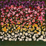 Printed Gradient Rose Flower With grass floor Backdrop - 6128 - Backdrop Outlet