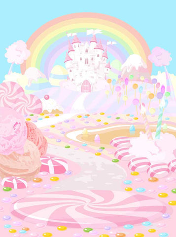 6151 Printed Rainbow Pink Blue Candy land Castle Backdrop - Backdrop Outlet