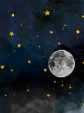 6339 Night Sky Stars Moon Watercolor Backdrop - Backdrop Outlet