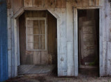 Blue Gray Wooden Doorway Barn Printed Backdrop - 6362 - Backdrop Outlet