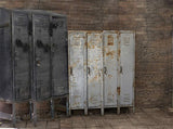 Abandoned School Lockers Rusty Black Gray Printed Backdrop - 6352 - Backdrop Outlet