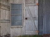 Blue Gray Wooden Door Barn Metal Printed Backdrop - 6355 - Backdrop Outlet