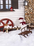 Snowman Sled Piled Wood Snowy Printed Backdrop - 6357 - Backdrop Outlet
