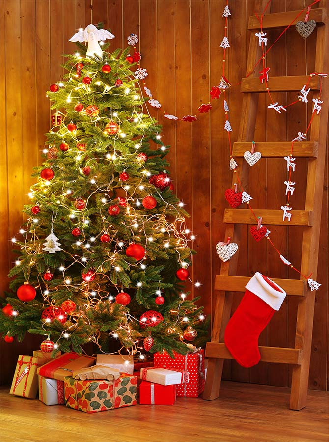 Red Christmas Tree Lights Wooden Ladder Presents Printed Backdrop 6358