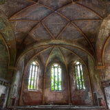 Abandoned Church Stained Glass High Ceiling Printed Backdrop - 6370 - Backdrop Outlet