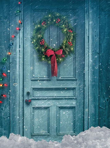 Blue Painted Door Snowy Wreath Lights Christmas Printed Backdrop - 6378 - Backdrop Outlet