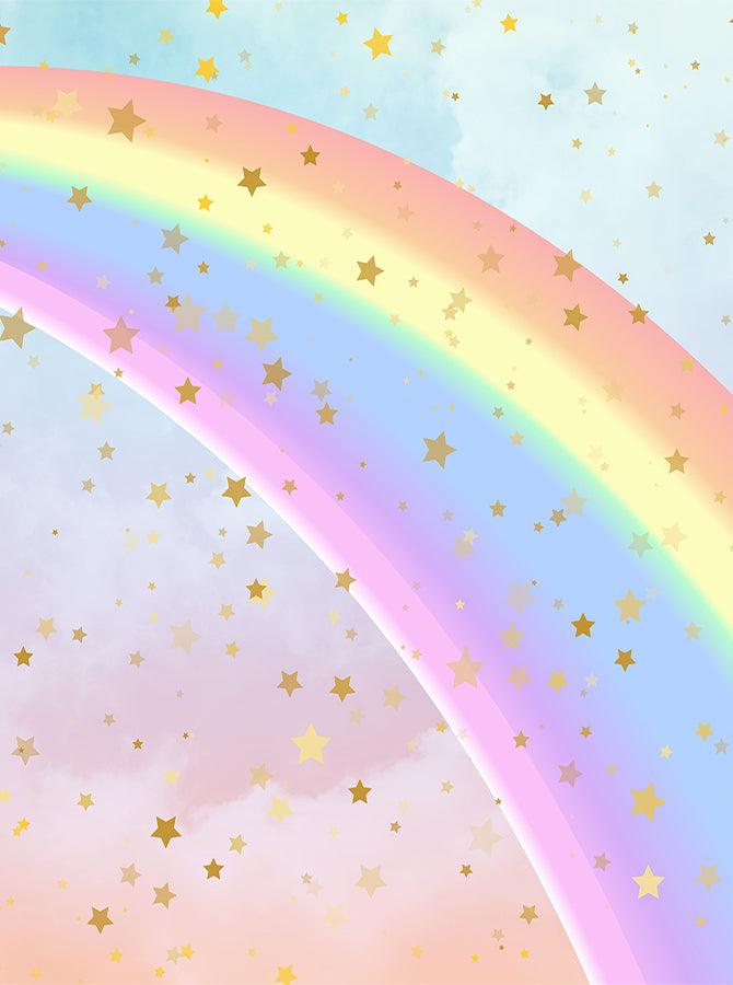 Printed Rainbow Star Watercolor Clouds Backdrop 6384