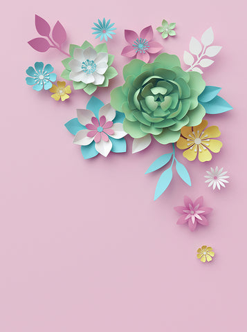 Printed Colorful Paper Flowers Pink Backdrop - 6385 - Backdrop Outlet