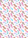 Tribal Colorful Feathers Printed Backdrop - 6843 - Backdrop Outlet