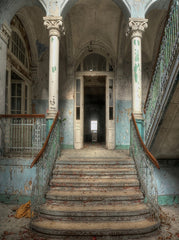 Abandoned Home Architecture Door Stairs Printed Backdrop - 6852 - Backdrop Outlet