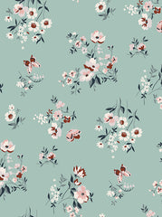 Printed White Floral Daisy and Nuve Flowers Backdrop Teal Mist  Background - 6860 - Backdrop Outlet