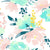 Printed Floral Water Color Pink and Turquoise Flowers - 6861 - Backdrop Outlet