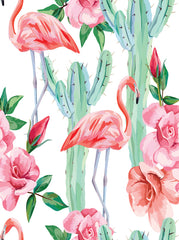 Printed Floral Summer Green Cactus Pink Flamingo Backdrop - 6864 - Backdrop Outlet