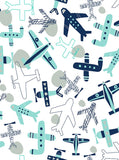 Printed Retro Airplanes Aqua and Blue Backdrop - 6866 - Backdrop Outlet