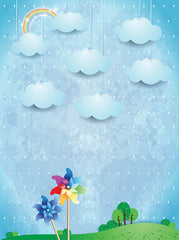 Printed Children's Dream Illustration Pinwheel Rainbow Blue Clouds Backdrop - 6871 - Backdrop Outlet