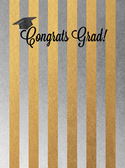 Printed Graduation Gold and Silver Congrats Grad Backdrop - 6872 - Backdrop Outlet