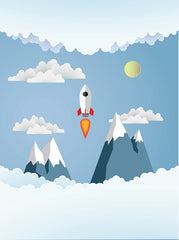 Printed Children's Rocket Blue Sky Clouds Mountain Backdrop - 6873 - Backdrop Outlet