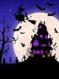 Printed Halloween Dark Night Full Moon Haunted House Pumpkin Bats Backdrop - 6875