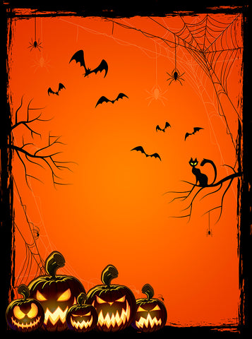Printed Halloween Orange Black Pumpkin Spiders Backdrop - 6876