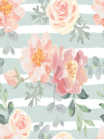 Printed Wedding Pastel Teal Stripes Illustrative Floral Backdrop - 6879