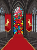 Stained Glass Interior Medieval Castle Printed Backdrop - 6880