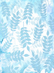 Textured Pale Blue Leaves On Watercolor Backdrop - 6885